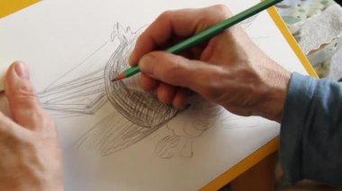 Pencil sketch — Stock Video