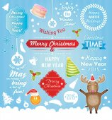 Holiday Christmas icons labels — Stock Vector