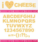 Realistic English cheesy font — Stock Vector