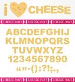 Realistic English cheesy font — Vector de stock