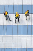 Group of workers cleaning windows on high rise building — Stock Photo
