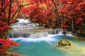 Beautiful deep forest Waterfall ,Huay Mae Khamin, Kanchanaburi , — Stock Photo