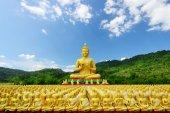Many buddha statue in temple, Nakornnayok , Thailand — Fotografia Stock