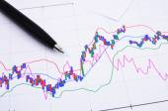 Stock graph data analyzing — Stockfoto
