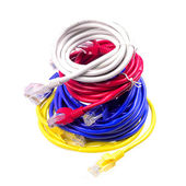 Multiple network cable on white background — Stock Photo