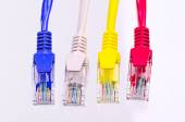 Multiple color network cable on white background — Stock Photo