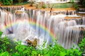Deep forest Waterfall ,Huay Mae Khamin, Kanchanaburi ,Thailand — Stock Photo