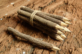 Group of pencil on wooden background — Stock Photo