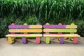 Fancy wood bench — Stock Photo