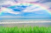 Rainbow over blue sky — Stock Photo