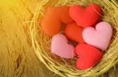 Group of heart shape in basket — Stock Photo