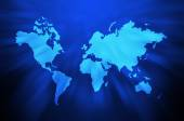 World map on blue abstract background — Stock Photo