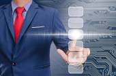 Business man hand touching virtual screen — Stock Photo