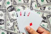 Hand en vier Azen, speelkaarten — Stockfoto