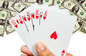 Flush playing cards on hand — Stock Photo