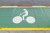 Bicycle Sign on road — Stock Photo