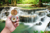 Man hand and compass with beautiful deep forest waterfall backgr — Stock Photo