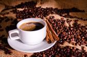 White coffee cup and coffee beans around — Stock Photo