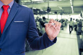 Business man use pen writing on virtual screen — Stock Photo