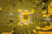 Lines and solder joints of the modern circuit board — Stock Photo