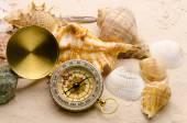 Compass and sea shells on sand — Stock Photo