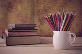 Color pencils on table — Stock Photo