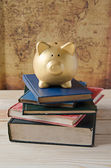 Gold piggy bank on stack of book — Stock Photo
