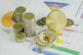 Money and compass on graph , business analysis — Stock Photo