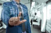 Business man touch virtual screen — Stock Photo