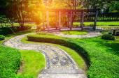 Curving walkway in the garden — Stock Photo