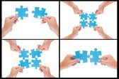 Collection of man hand holding jigsaw isolated on white backgrou — Stock Photo