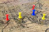 Marked location on old map — Stock Photo