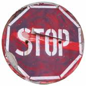 Vintage stopping attention sign — Stock Photo