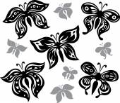 Siyah-beyaz kelebekler dizi — Stok Vektör