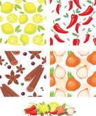 Vegetables and spices vector seamless pattern — Vector de stock