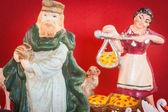 Antique nativity scene figures — Stock Photo
