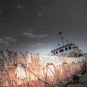 Shipwreck at the pier — Stok fotoğraf