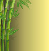 Green bamboo on yellow background — Stock Vector