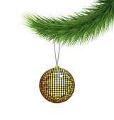 Golden Christmas ball on pine branch — Vetorial Stock