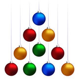 Christmas balls hanging like fir tree — Stock Vector