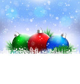 Christmas balls with pine and blank space on blue — Stock Vector