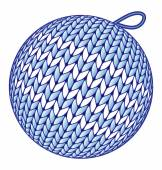 Blue knitted Christmas ball isolated on white — Stockvector