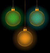 self-illuminated Christmas balls on black  — Stockvector