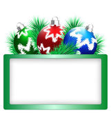 Christmas balls with pine and frame on white  — Stock Vector