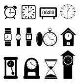 Black clocks on white background — Stock Vector