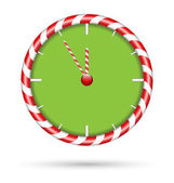 Candy cane clock  isolated on white  — Stock Vector