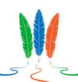 Three colored feathers — Stockvektor
