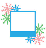 Blue photo frame with snowflakes isolated on white — Vetorial Stock