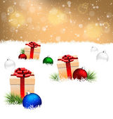 gift boxes with pine and Christmas balls on snow on gold  — Stock Vector