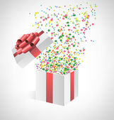 Confetti with gift box on grayscale  — Stockvector